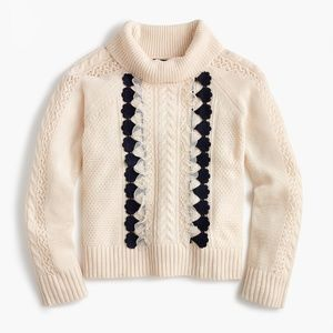 NWT J Crew XXL Wool Embellished Cable Knit Sweater